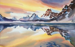 Sunrise On Bow Lake By David McEown, Watercolor Painting